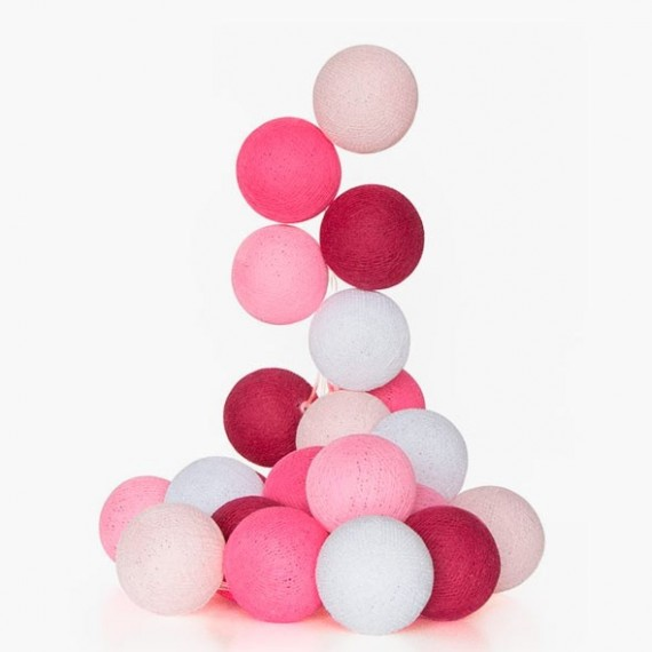 Guirnalda bolas con luz rosa for Guirnalda de luces bolas