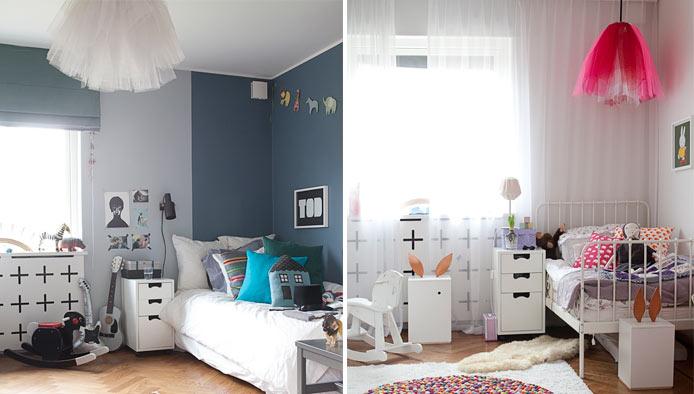 2 habitaciones infantiles de hermanos con una decoración ...