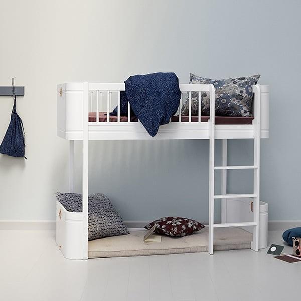 Wood Mini+ Kids Low Loft Bed | White