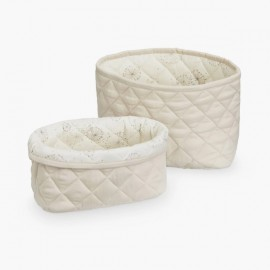 Quilted Storage Baskets | Light Sand