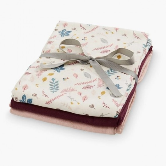 Muslin Cloth, Mix 3 Pack | Leaves Rose