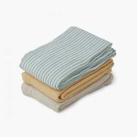 Line Muslin Cloth 3 Pack - Sea Stripe