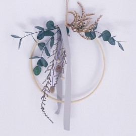Grey Floral Hoops | Medium