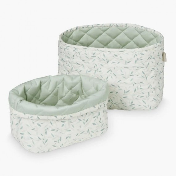 Quilted Storage Baskets | green leaves
