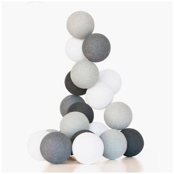guirnalda bolas con luz gris