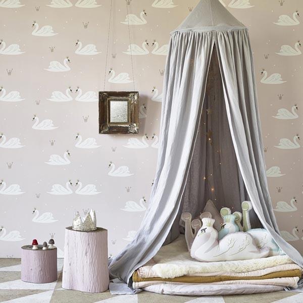 Papel pintado swan cisnes hibou home para decorar habitaciones infantiles - Papel para habitaciones infantiles ...
