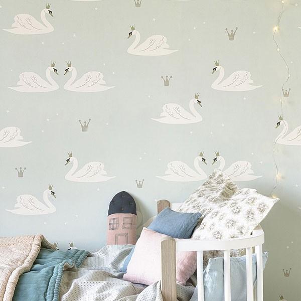 Papel pintado swan cisnes hibou home para decorar habitaciones infantiles - Imagenes de papeles pintados ...