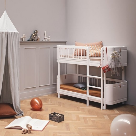 Wood mini+ low bunk bed, white