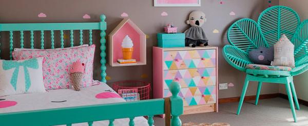 habitacion menta rosa niños